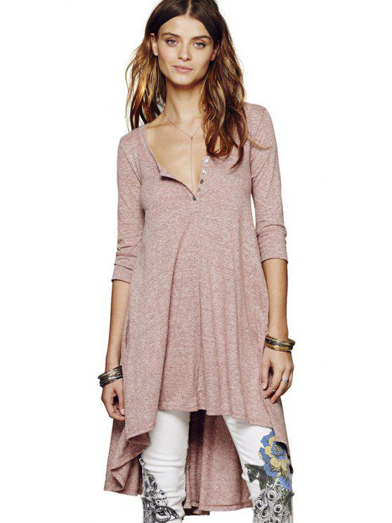 fashion Half Sleeves Solid Color Dress - PINK L