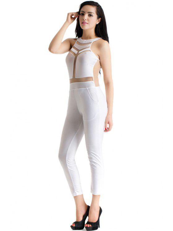 women See-Through Splicing Sleeveless Jumpsuit - WHITE S
