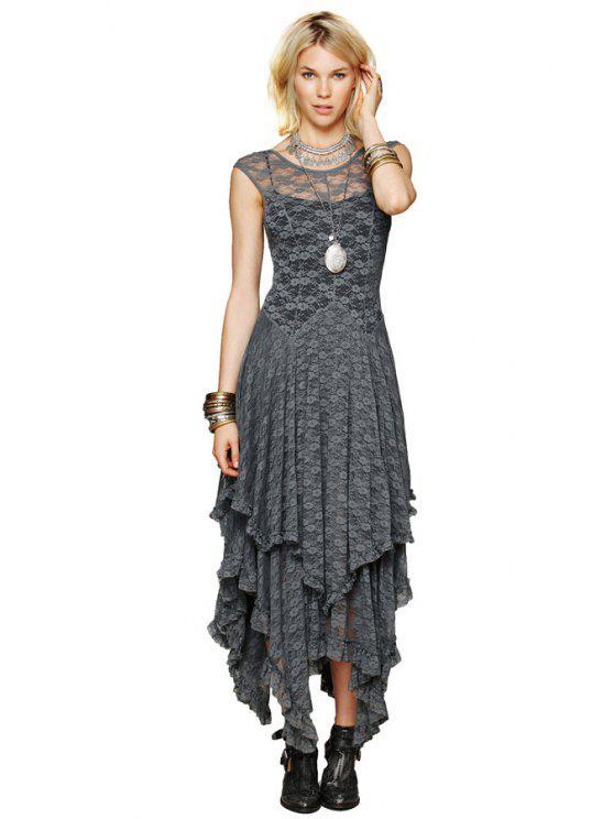 affordable Lace Irregular Hem Dress - GRAY L