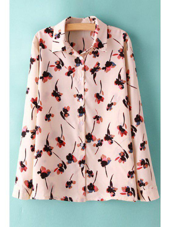 latest Ink Floral Print Long Sleeve Shirt - RED S