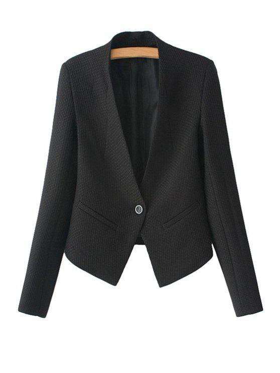 shops Solid Color Long Sleeve One Button Blazer - BLACK S