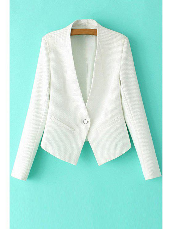 women's Solid Color Long Sleeve One Button Blazer - WHITE L
