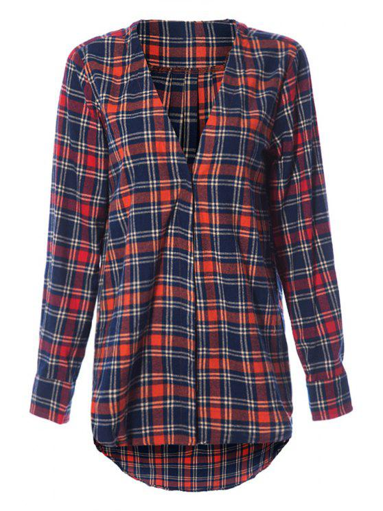 ladies Plunging Neck Plaid Print Blouse - CHECKED XL