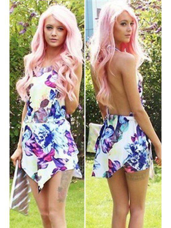 new Floral Print Backless Asymmetrical Dress - COLORMIX S