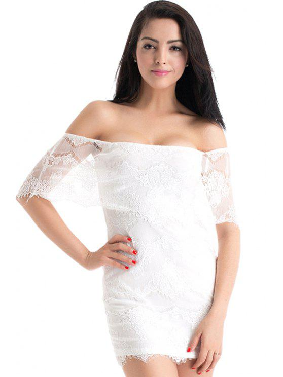 shop Strapless Solid Color Lace Dress - WHITE S
