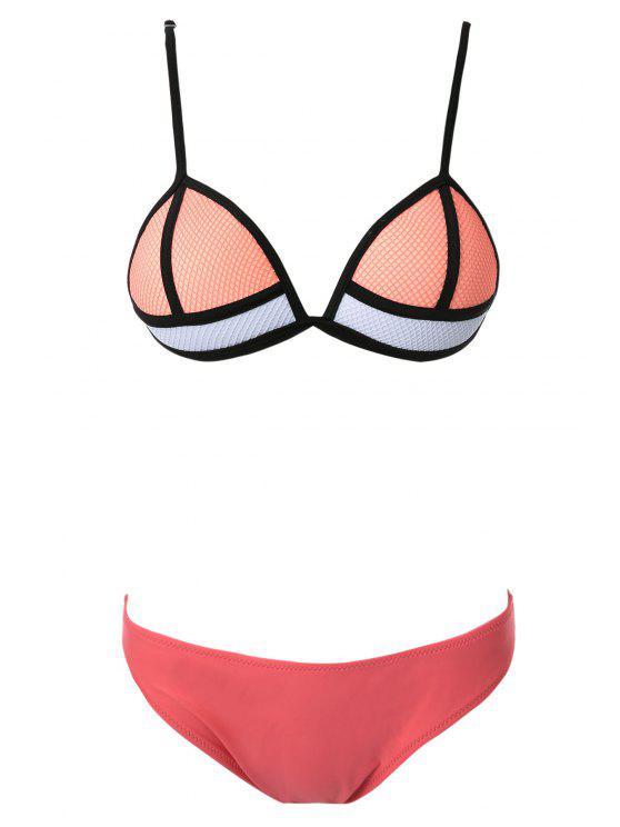 fancy Color Block Bikini Set - JACINTH S
