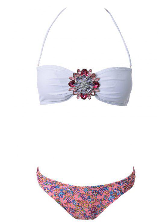 Bustier imprimé floral Bikini - Rouge et Blanc L