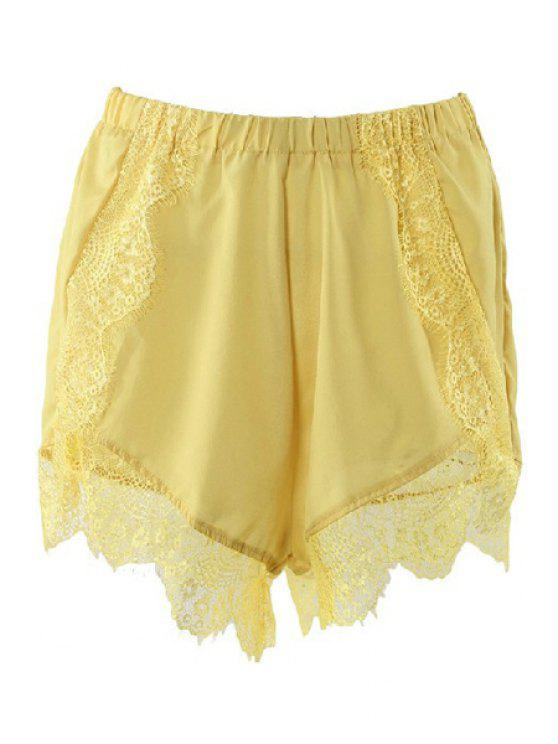 outfits Solid Color Lace Elastic Waist Shorts - YELLOW S