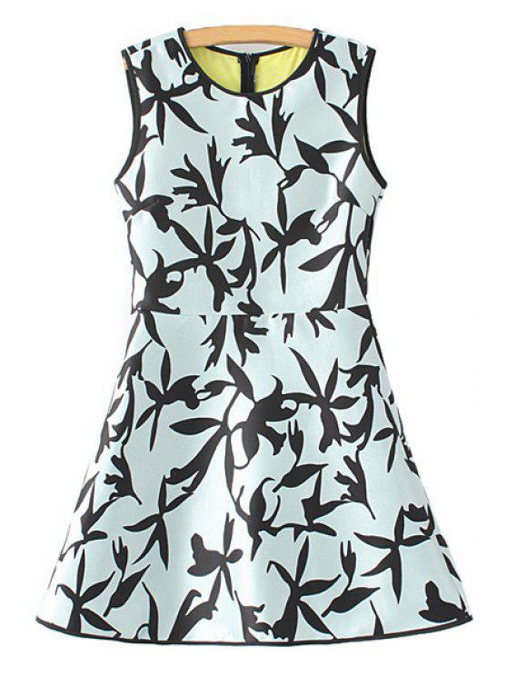 buy Leaf Print A-Line Sundress - LIGHT BLUE S