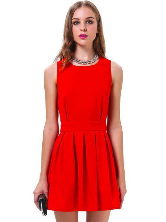 latest Backless Solid Color Ruffle Sleeveless Dress - RED S