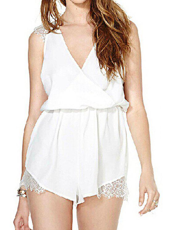 shop Solid Color Lace Splicing Sleeveless Romper - WHITE S