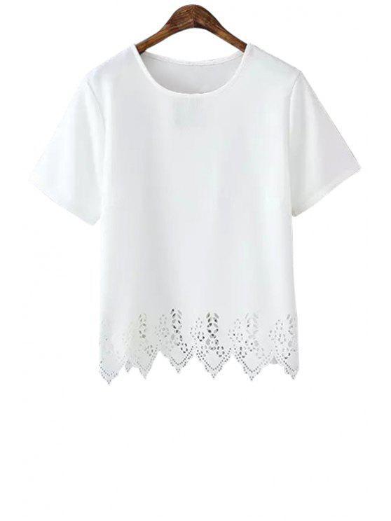 affordable Hollow Hem Short Sleeve T-Shirt - WHITE S