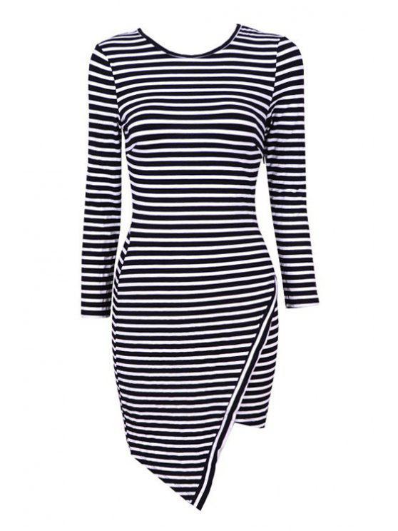 trendy Stripe Asymmetrical Long Sleeve Dress - BLACK XS