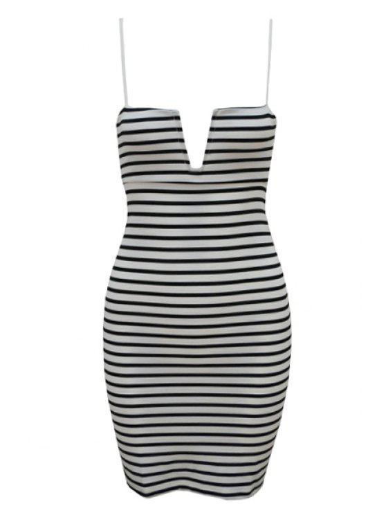 women's Spaghetti Strap Stripe Sleeveless Dress - WHITE XL