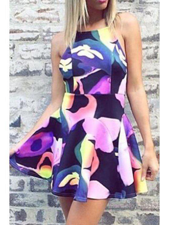 buy Color Block Print Backless Dress - COLORMIX S