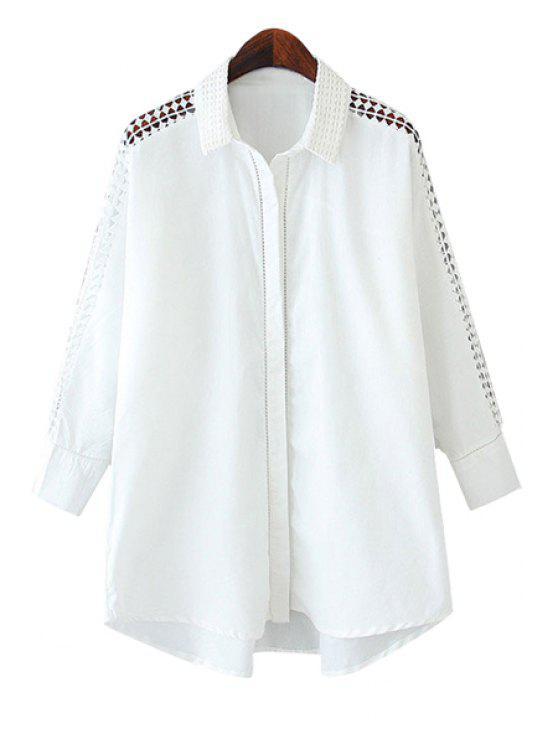 best White Hollow Spliced Shirt - WHITE S