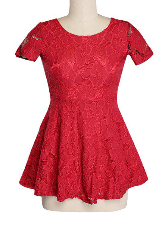 womens Backless Lace Solid Color Dress - RED S