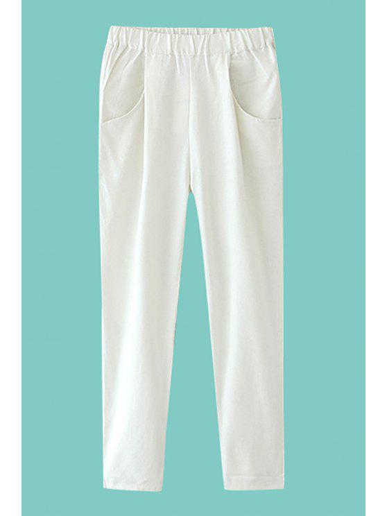 ladies Solid Color Linen Pants - WHITE S