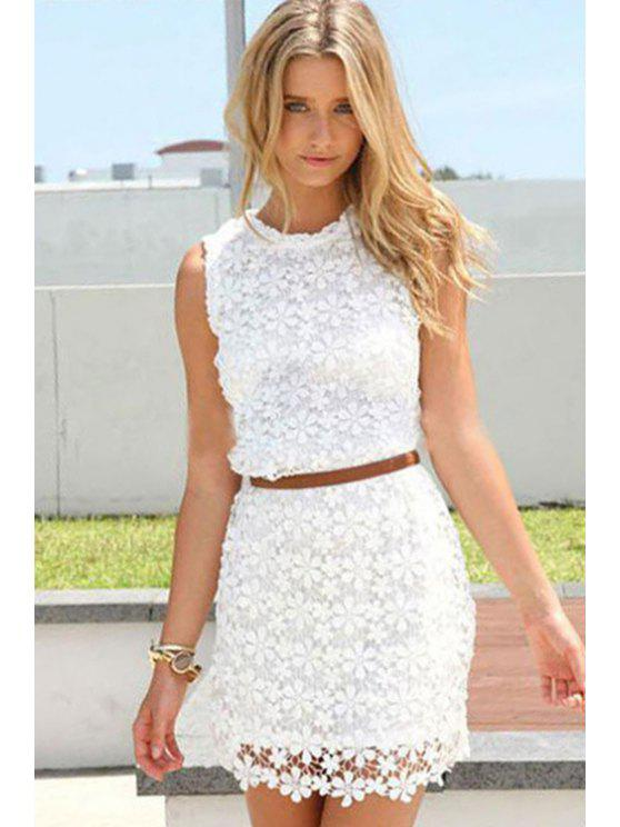 lady Floral Pattern Lace Sleeveless Dress - WHITE S