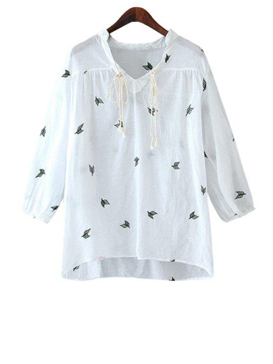 affordable Leaf Embroidery V-Neck Blouse - WHITE S