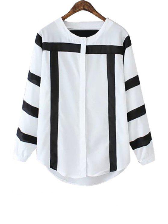 ladies Color Block Jewel Neck Shirt - BLACK AND GREY S