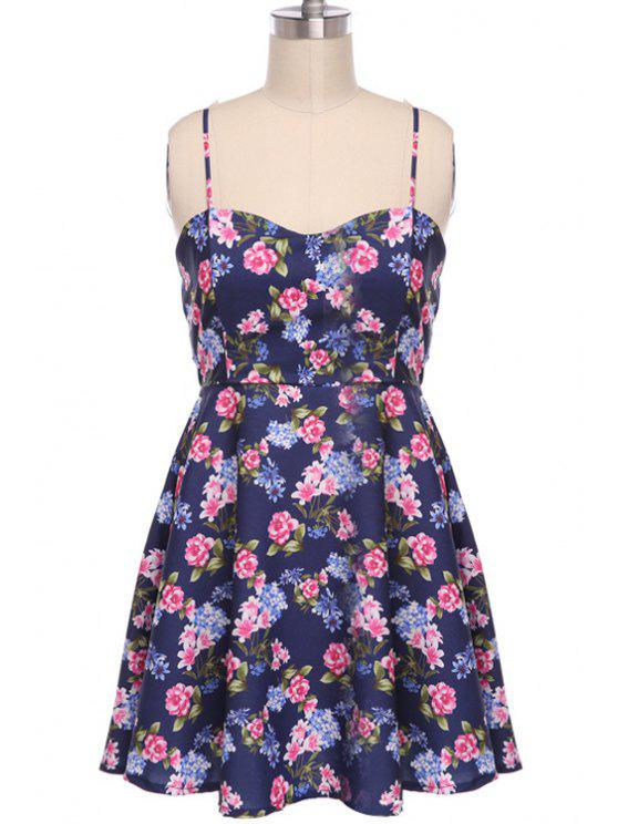 outfit Lace Splicing Floral Print Sleeveless Dress - PURPLISH BLUE S