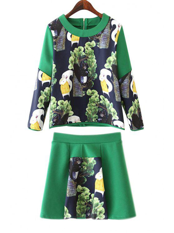 shops Squirrel Print Blouse and Skirt Suit - GREEN S