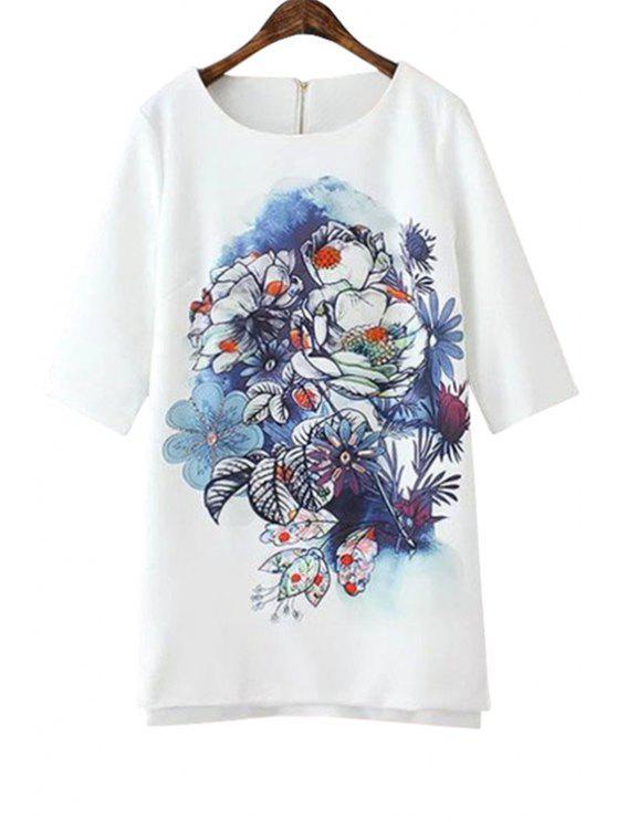 فستان طباعة الأزهار نصف الأكمام مستقيم - أبيض M