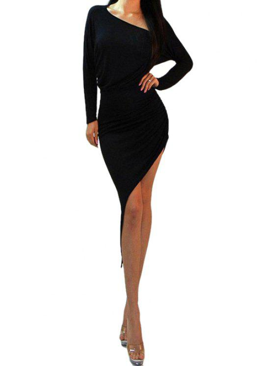 shops Solid Color Ruffle Asymmetrical Dress - BLACK M