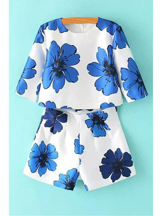 sale Floral Print Blouse and Shorts Suit - BLUE AND WHITE S
