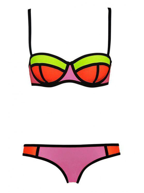 lady Color Block Plaid Bikini Set - PINK XL