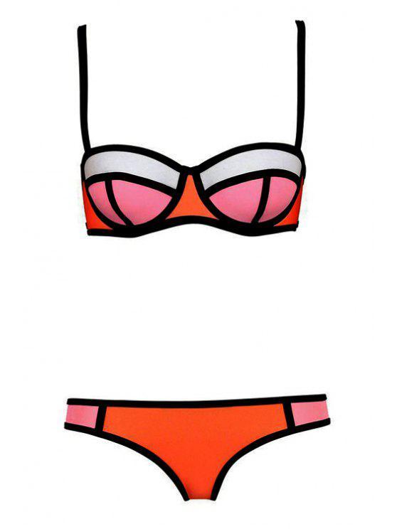 shop Color Block Plaid Bikini Set - JACINTH XL