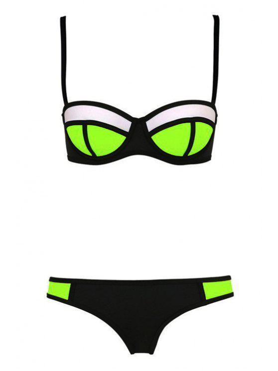 latest Color Block Plaid Bikini Set - BLACK S