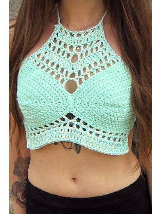 ce41db7e0eebe fancy Halter Neck Solid Color Openwork Tank Top - BLUE ONE SIZE(FIT SIZE XS