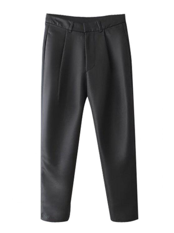 outfits Solid Color Straight Leg Capri Pants - BLACK S