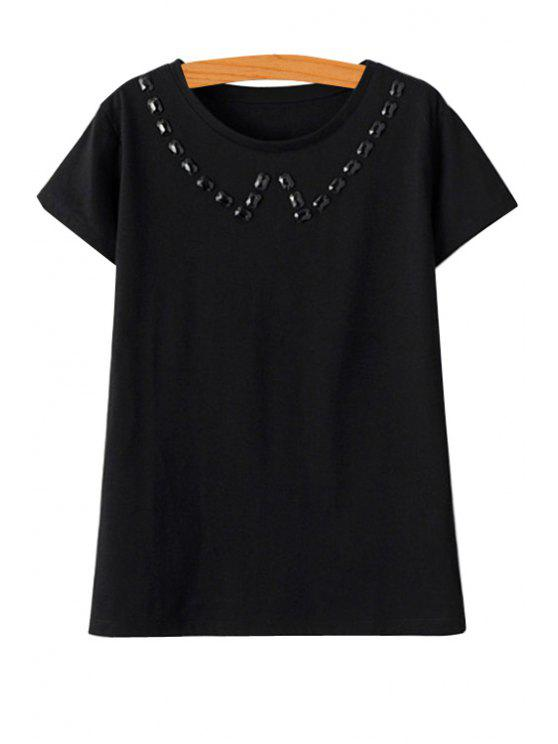 shop Solid Color Beaded Short Sleeve T-Shirt - BLACK M