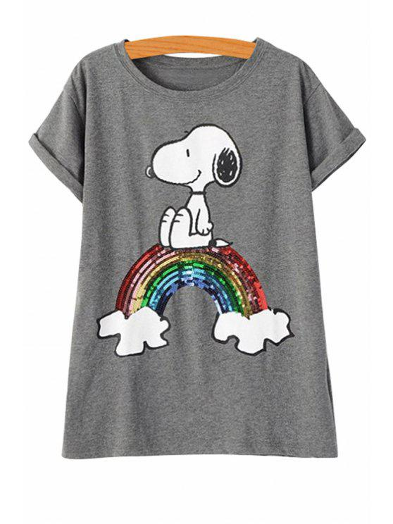fancy Sequins Rainbow Short Sleeve T-Shirt - GRAY S