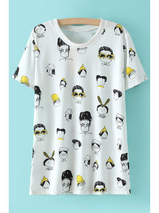 sale Full Figure Print Short Sleeve T-Shirt - WHITE ONE SIZE(FIT SIZE XS TO M)