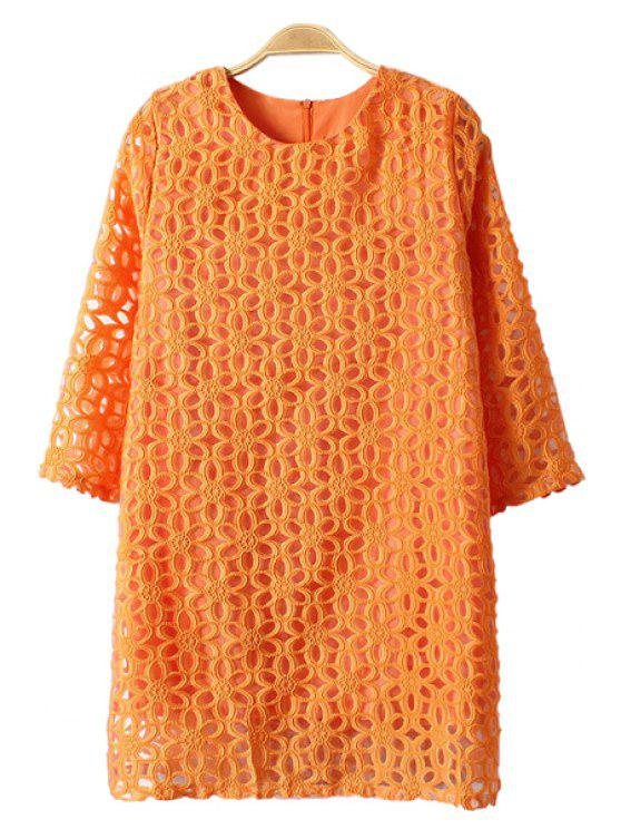 best Hollow Out Orange 3/4 Sleeve Dress - ORANGE ONE SIZE(FIT SIZE XS TO M)