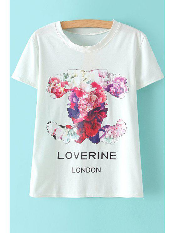 affordable Short Sleeves Floral T-Shirt - WHITE ONE SIZE(FIT SIZE XS TO M)