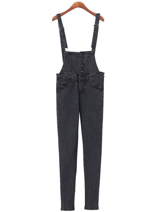lady Solid Color Straps Denim Overalls - BLACK S