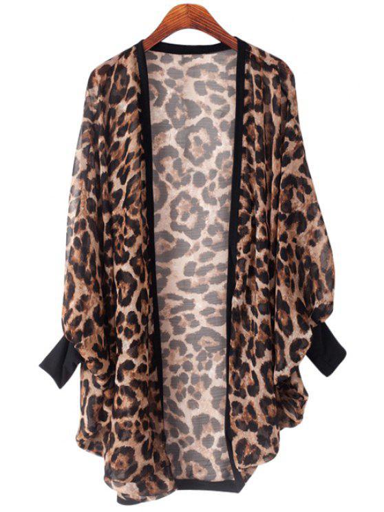 women Leopard Print Bat-Wing Sleeve Blouse - LEOPARD L