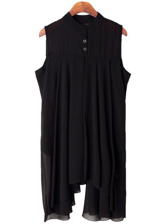 women's Solid Color Sleeveless Irregular Hem Blouse - BLACK ONE SIZE(FIT SIZE XS TO M)