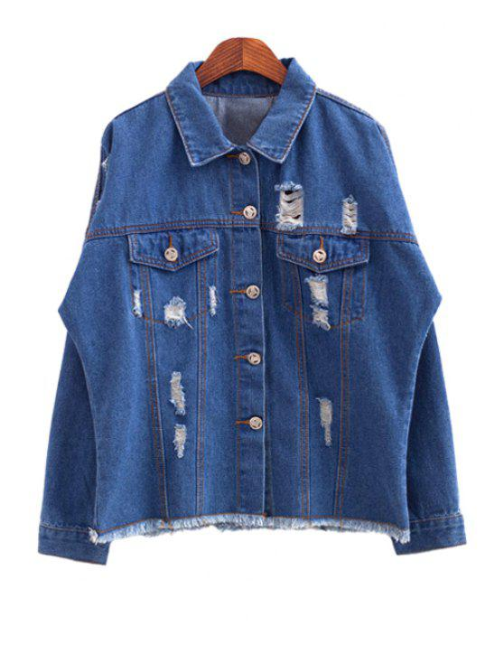 hot Blue Broken Hole Denim Jacket - BLUE S