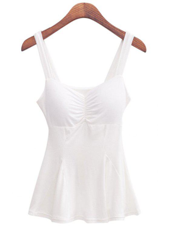 hot White Flouncing Straps Tank Top - WHITE ONE SIZE(FIT SIZE XS TO M)