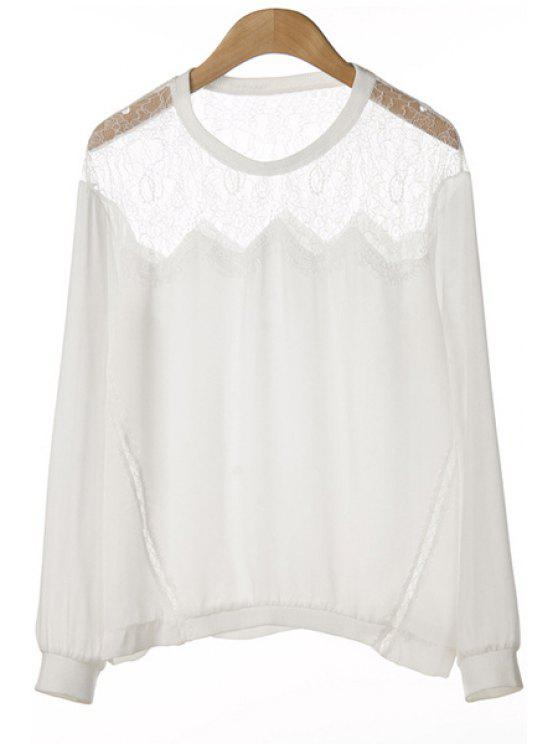 trendy Lace Splicing Solid Color Long Sleeve T-Shirt - WHITE S