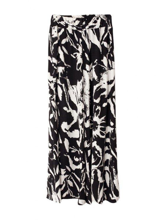 unique Print Wide Leg Pants - WHITE AND BLACK S