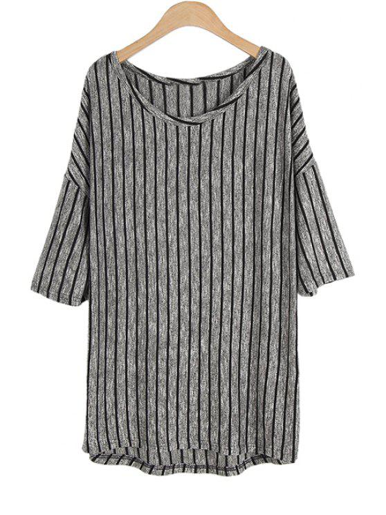 chic Stripe Half Sleeve Sweater - BLACK AND GREY ONE SIZE(FIT SIZE XS TO M)