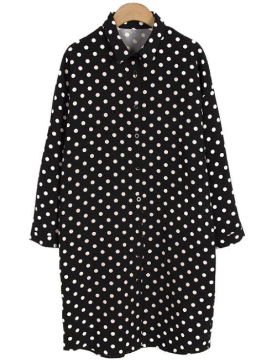 fancy Polo Collar Polka Dot Shirt - BLACK ONE SIZE(FIT SIZE XS TO M)