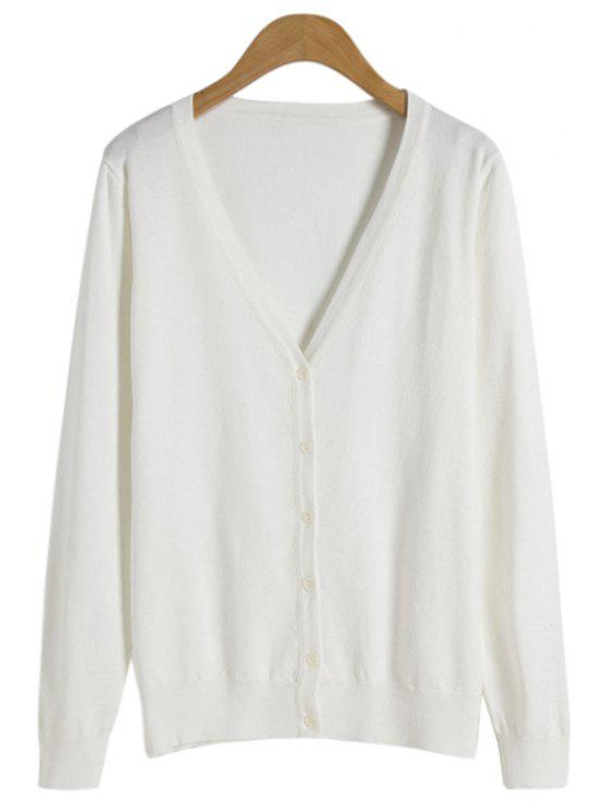 unique V-Neck Solid Color Long Sleeve Cardigan - WHITE ONE SIZE(FIT SIZE XS TO M)